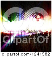 Bright Grunge Bar And Halftone Over A Fractal And Colorful Bars On Rusty Metal