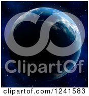 Clipart Of A 3d Planet Earth At Night With Stars In The Background Royalty Free Illustration by Arena Creative