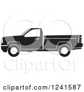 Clipart Of A Black And White Pickup Truck From The Side Royalty Free Vector Illustration