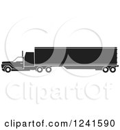 Clipart Of A Black And White Big Rig Truck From The Side Royalty Free Vector Illustration