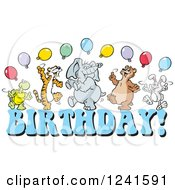 Clipart Of A Happy Dancing Tortoise Tiger Elephant Bear And Rabbit With Party Balloons Over BIRTHDAY Royalty Free Vector Illustration