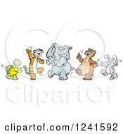 Clipart Of A Happy Dancing Tortoise Tiger Elephant Bear And Rabbit Royalty Free Vector Illustration by Johnny Sajem