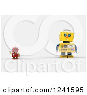 Clipart Of A 3d Surprised Yellow Robot Looking At A Smaller Waving Red One Royalty Free CGI Illustration