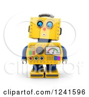 Clipart Of A 3d Surprised Yellow Retro Robot Looking Down Royalty Free CGI Illustration