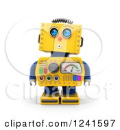 Clipart Of A 3d Surprised Yellow Retro Robot Looking Up Royalty Free CGI Illustration