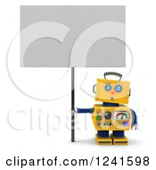 Clipart Of A 3d Surprised Yellow Robot Looking Up And Holding A Sign Royalty Free CGI Illustration