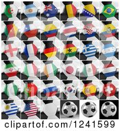 Clipart Of Closeups Of National Flags On 3d Soccer Balls Royalty Free CGI Illustration by stockillustrations