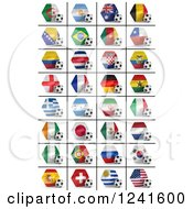 Clipart Of 3d World Championship National Flags And Soccer Balls On A White Background Royalty Free CGI Illustration by stockillustrations