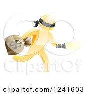 Clipart Of A 3d Gold Masked Robber Running With A Money Bag And Flashlight Royalty Free Vector Illustration by AtStockIllustration