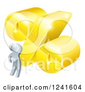 Clipart Of A 3d Silver Man Looking Up At A Big Percent Discount Rate Royalty Free Vector Illustration
