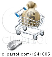 Clipart Of A 3d Dollar Money Bag In A Shopping Cart Wired To A Computer Mouse Royalty Free Vector Illustration