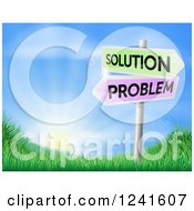 Clipart Of 3d Solution And Problem Arrow Signs Over A Sunrise On A Grassy Hill Royalty Free Vector Illustration