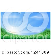Clipart Of A Sun Rising Over A Grassy Landscape Against A Blue Sky Royalty Free Vector Illustration