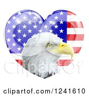 Clipart Of A Bald Eagle Head Over A Shiny American Flag Heart Royalty Free Vector Illustration by AtStockIllustration