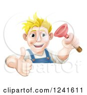 Clipart Of A Happy Male Plumber Holding A Thumb Up And Plunger Over A Sign Royalty Free Vector Illustration