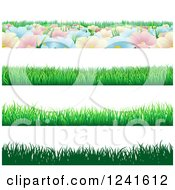 Clipart Of Seamless Grass And Flower Website Header Borders Royalty Free Vector Illustration