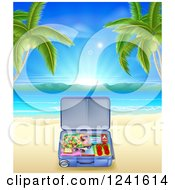 Clipart Of A Travel Suitcase On A Tropical Becah With Palm Trees Royalty Free Vector Illustration