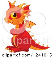 Clipart Of A Cute Red And Orange Baby Dragon Royalty Free Vector Illustration