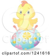 Clipart Of A Cute Easter Chick Sitting On A Floral Egg Royalty Free Vector Illustration by Pushkin