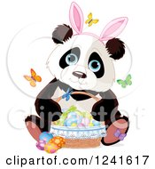 Cute Panda Wearing Bunny Ears And Sitting With A Basket Of Easter Eggs And Butterflies