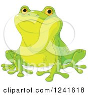 Clipart Of A Proud Cute Green Frog Royalty Free Vector Illustration