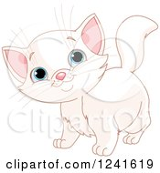 Clipart Of A Cute Blue Eyed White Cat Smiling Royalty Free Vector Illustration