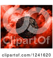 Clipart Of A 3d Volcanic Planet Over A Red Stormy Sky Royalty Free Illustration