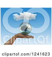 Clipart Of A 3d Human Hand Holding A Tree Globe Royalty Free Illustration