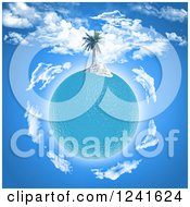 Clipart Of A 3d Palm Tree Island On An Ocean Planet Royalty Free Illustration
