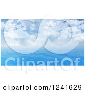 Clipart Of A 3d Blue Seascape And Cloudy Sky Royalty Free Illustration by KJ Pargeter