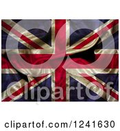 Clipart Of A 3d Dark Crumpled Union Jack Flag Royalty Free Illustration