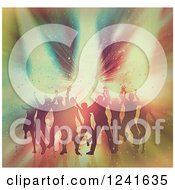 Clipart Of A Vintage Colored Background Of Silhouetted Dancers Over A Burst Of Colorful Lights Royalty Free Illustration