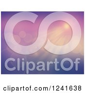 Clipart Of A Gradient Purple Sunshine And Flares Background Royalty Free Illustration
