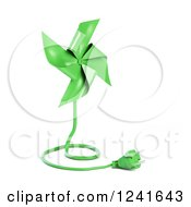 Clipart Of A 3d Green Pinwheel With An Electric Plug Royalty Free Illustration by Mopic