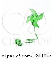 Clipart Of A 3d Green Pinwheel With An Electric Plug 2 Royalty Free Illustration by Mopic