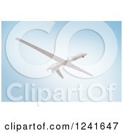Clipart Of A 3d Predator Drone Against A Blue Sky Royalty Free Illustration