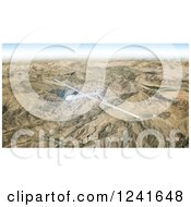 Clipart Of A 3d Predator Drone Flying Over Mountains Royalty Free Illustration