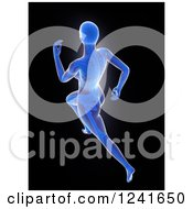 Clipart Of A 3d Female Runner With Visible Skeleton Royalty Free Illustration