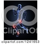 Clipart Of A 3d Female Runner With Highlighted Joint Pain Royalty Free Illustration
