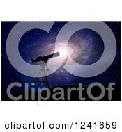 Clipart Of A 3d Silhouetted Telescope And Spiral Galaxy Royalty Free Illustration by Mopic