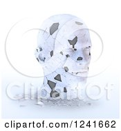 Clipart Of A 3d Shattering Human Head On White Royalty Free Illustration