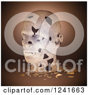 Clipart Of A 3d Shattering Human Head On Brown Royalty Free Illustration