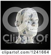 Clipart Of A 3d Shattering Human Head On Black Royalty Free Illustration
