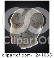 Clipart Of A 3d Cracking Human Head On Black Royalty Free Illustration