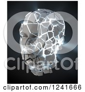 Clipart Of A 3d Light Shining Through A Shattering Human Head On Black Royalty Free Illustration