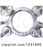 Clipart Of 3d Steel Gears Over White Royalty Free Illustration