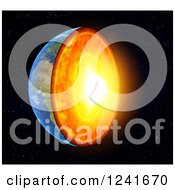 Clipart Of A 3d Earth With Exposed Core Royalty Free Illustration