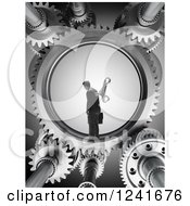 Clipart Of A 3d Wind Up Businessman In Gears Royalty Free Illustration