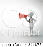 Clipart Of A 3d Block Head Businessman Using A Red Megaphone Royalty Free Illustration by Mopic