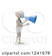 Clipart Of A 3d Block Head Businessman Using A Blue Megaphone Royalty Free Illustration by Mopic